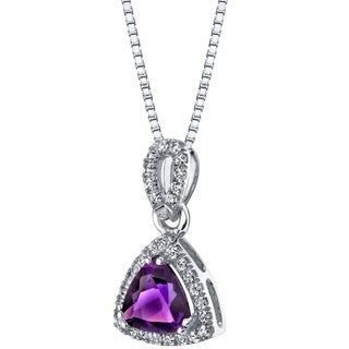 14k White Gold Trillion-Cut 1.50 carat Amethyst Halo Pendant - Purple