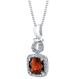 14k White Gold Garnet 2.50 carat Halo Drop Pendant - Red