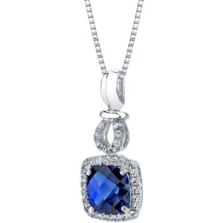 14k White Gold Created Blue Sapphire 3.00 carat Halo Drop Pendant