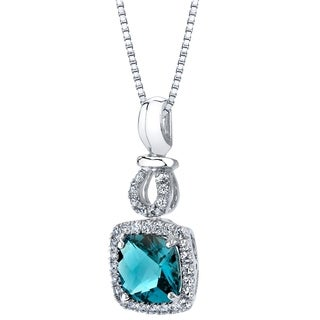 14k White Gold London Blue Topaz 2.50 carat Halo Drop Pendant