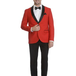 West End Men's Slim Fit Red Shall Collar Satin-Detailed Tuxedo