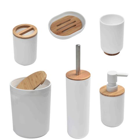 Evideco Padang 6 Pieces Bamboo Bathroom Accessory Set