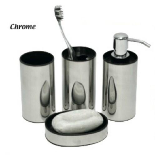 Evideco Mirror Effect 4 Pieces Bathroom Accessory Set Chrome