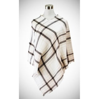 Le Nom Classic plaid poncho in soft colors