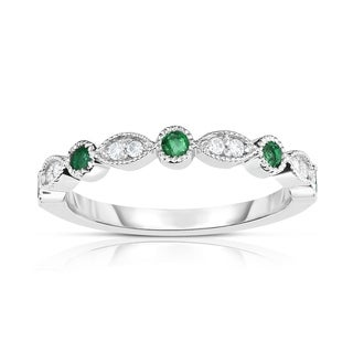 Noray Designs 14K White Gold Emerald & Diamond (0.08 Ct, G-H Color, SI2-I1 Clarity) Stackable Milligrain Ring - White G-H
