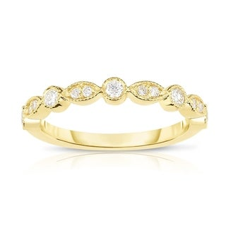 Noray Designs 14K Gold Diamond (1/4 Ct, G-H Color, SI2-I1 Clarity) Stackable Milligrain Ring - White G-H (More options available)