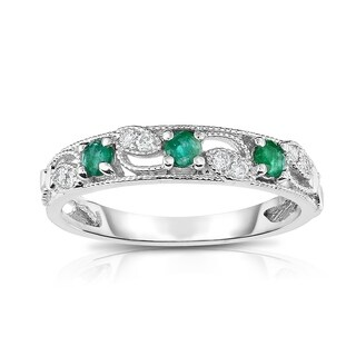 Noray Designs 14K Gold Emerald & Diamond (0.06 Ct, G-H, SI2-I1 Clarity) Stackable Ring - White G-H (More options available)