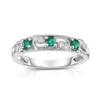 noray designs 14k gold emerald diamond 006 ct g h si2 i1 - Emerald Wedding Rings
