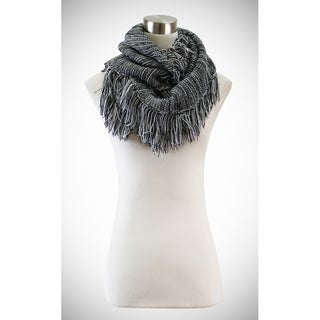 Le Nom Thin striped knitted infinity scarf with fringe edges