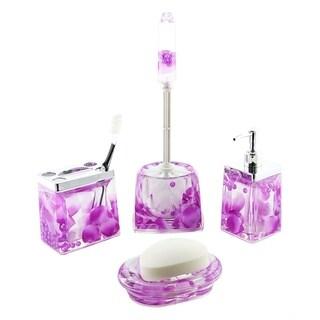 5-pc bathroom set, purple petals and pearl drops