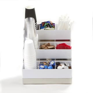 Mind Reader 9 Compartment Condiment Organizer With Acrylic Drawers And  Steel Base, White