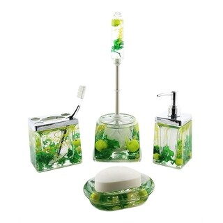 5-pc bathroom set, green apples