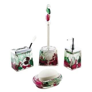 5-pc bathroom set, rose petals