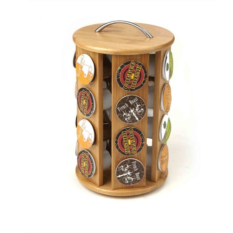 Mind Reader Bamboo Coffee Pod K-Cup Carousel 24 Capacity , Brown