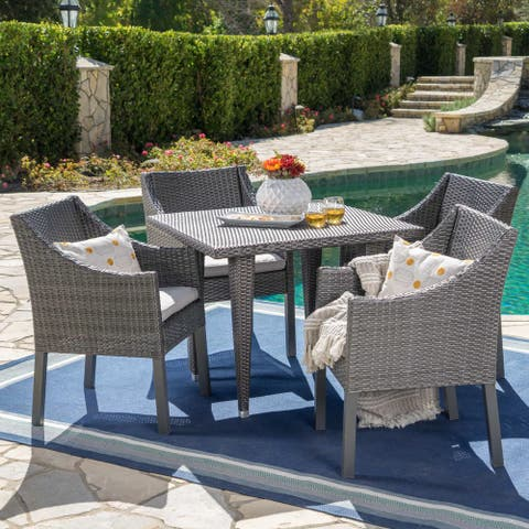 Alameda Outdoor 5-piece Wicker Square Dining Set with Water Resistant Cushions by Christopher Knight Home