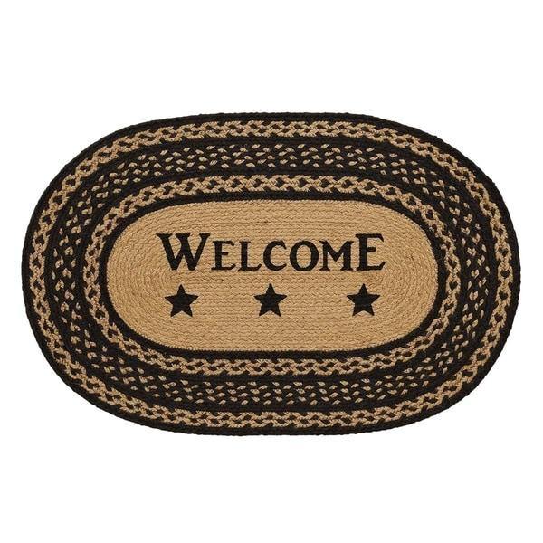 """Farmhouse Jute Stencil Welcome Oval Rug (1'8"""" x 2'6"""") - 1'8"""" x 2'6"""""""
