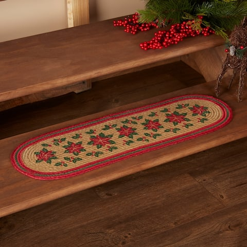 Tan Rustic Holiday Decor VHC Poinsettia Stair Tread Jute Floral - Flower Stenciled - 8.5x27