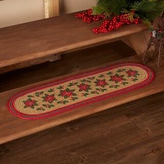 """Poinsettia Jute Stair Tread - 8.5"""" x 27"""""""