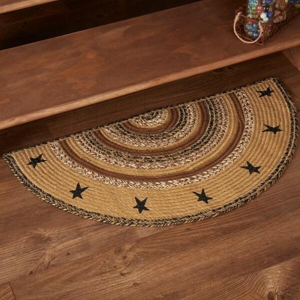 "Tan Primitive Flooring VHC Kettle Grove Stars Rug Jute Star Stenciled Half Circle - 1'4.5"" x 2'9"""