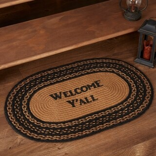"""Black Primitive Flooring VHC Farmhouse Welcome Y'all Rug Jute Text Stenciled - 1'8"""" x 2'6"""""""