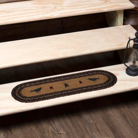 Yellow Primitive Flooring VHC Heritage Farms Crow Stair Tread Jute Nature Print Stenciled Oval - Stair Tread 8.5x27