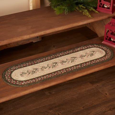 Red Rustic Holiday Decor VHC Holly Berry Stair Tread Jute Floral - Flower Stenciled - Stair Tread 8.5x27