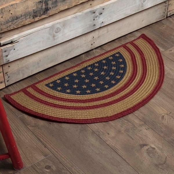 "Liberty Stars Flag Half Circle Jute Rug (1'4.5"" x 2'9"") - 1'4.5"" x 2'9"""