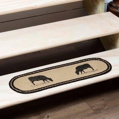 White Farmhouse Flooring VHC Sawyer Mill Cow Stair Tread Jute Nature Print Stenciled - Stair Tread 8.5x27