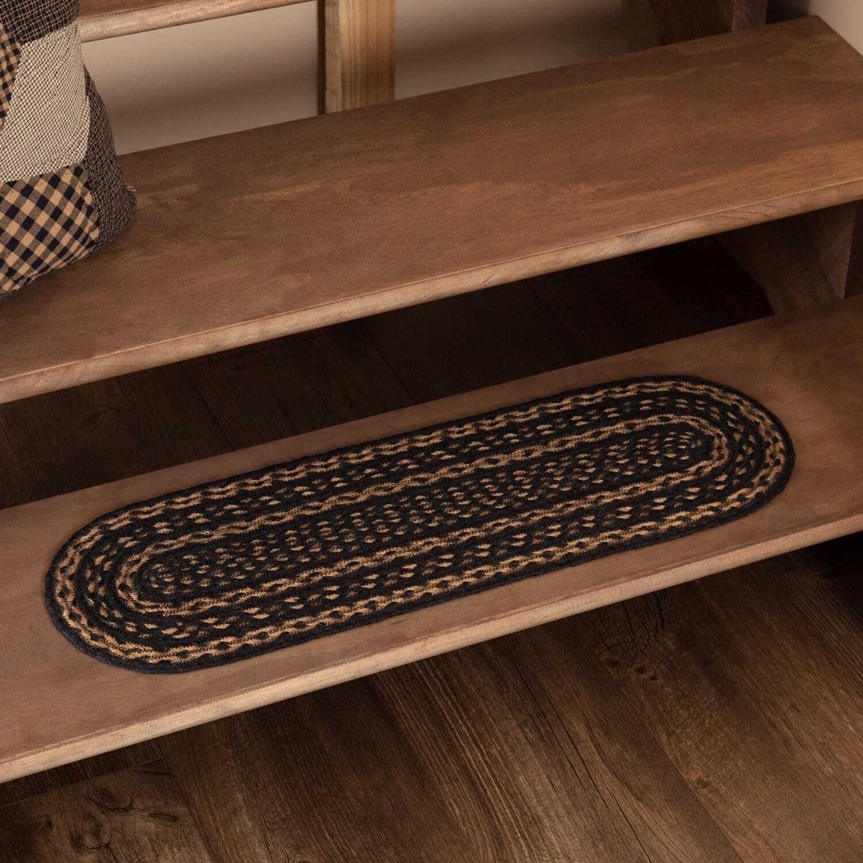 Black Primitive Flooring Vhc Farmhouse Stair Tread Jute Oval 8 5x27