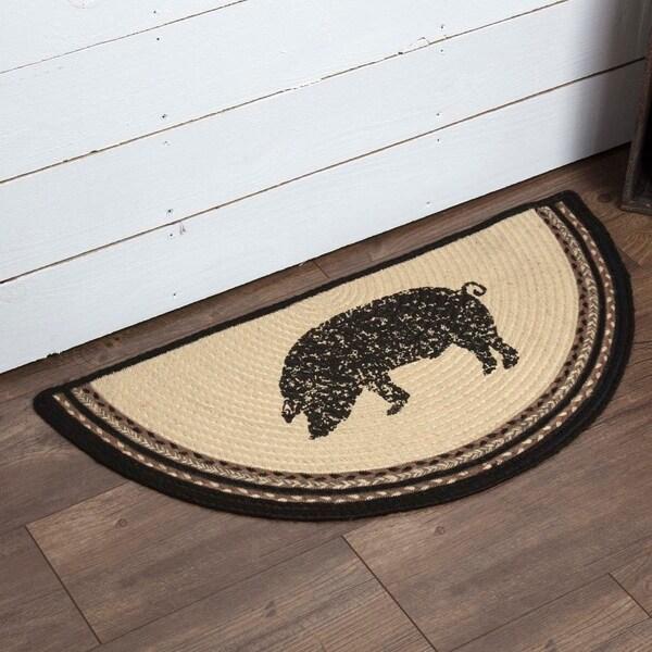 "White Farmhouse Flooring VHC Sawyer Mill Pig Rug Jute Nature Print Stenciled Half Circle - 1'4.5"" x 2'9"""