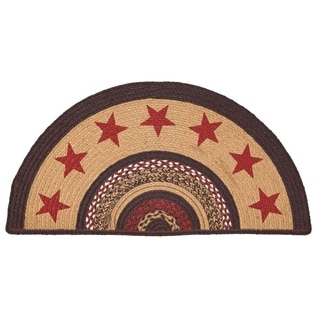 "Tan Primitive Flooring VHC Landon Stars Rug Jute Star Stenciled Half Circle - 1'4.5"" x 2'9"""