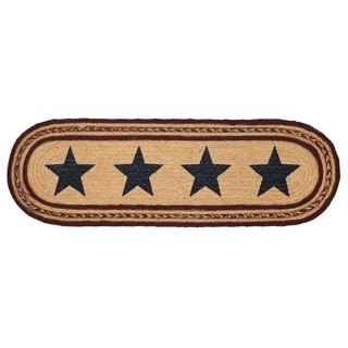 Tan Primitive Flooring VHC Potomac Stars Stair Tread Jute Star Stenciled - 8.5x27
