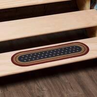 "Liberty Stars Flag Oval Jute Stair Tread - 8.5"" x 27"""