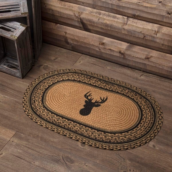 "Tan Rustic Flooring VHC Trophy Mount Rug Jute Nature Print Stenciled Oval - 1'8"" x 2'6"""