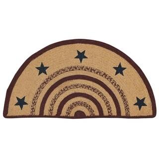 "Tan Primitive Flooring VHC Potomac Stars Rug Jute Star Stenciled Half Circle - 1'4.5"" x 2'9"""