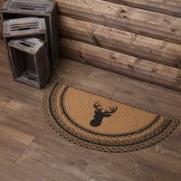 "Tan Rustic Flooring VHC Trophy Mount Rug Jute Nature Print Stenciled Half Circle - 1'4.5"" x 2'9"""