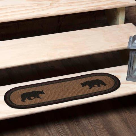 Tan Rustic Flooring VHC Wyatt Bear Stair Tread Jute Nature Print Stenciled - 8.5x27