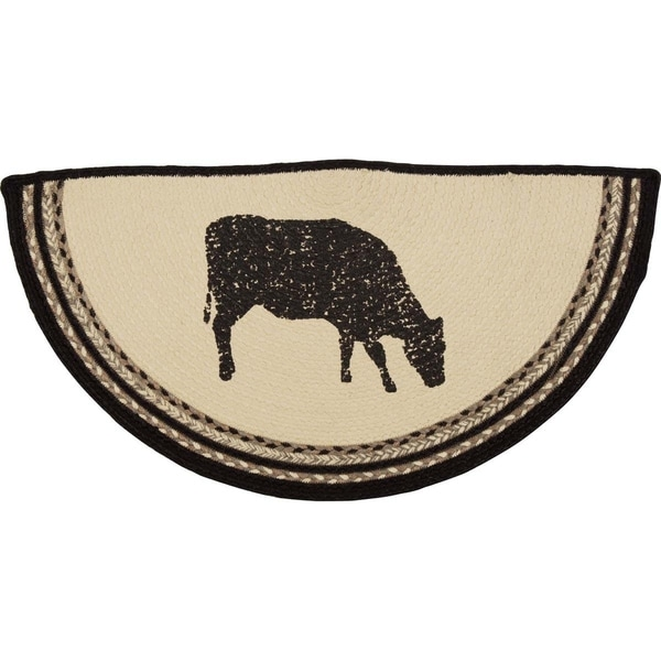 "Sawyer Mill Cow Half Circle Jute Rug - 1'4.5"" x 2'9"""