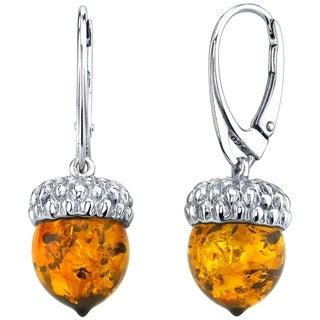 Oravo Baltic Amber Sterling Silver Acorn Drop Earrings