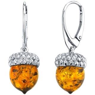 Oravo Baltic Amber Sterling Silver Acorn Drop Earrings - Orange|https://ak1.ostkcdn.com/images/products/18107468/P24263783.jpg?impolicy=medium