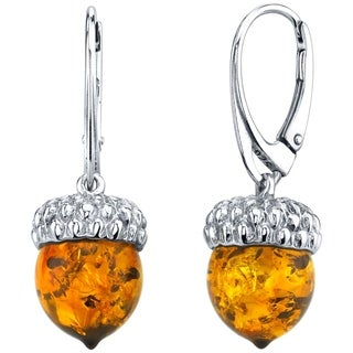 Oravo Baltic Amber Sterling Silver Acorn Drop Earrings - Orange