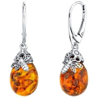Oravo Baltic Amber Sterling Silver Bee Drop Earrings - Orange