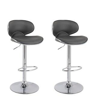 CorLiving Curved Form Fitting Adjustable Barstool in Dark Grey Bonded Leather, set of 2