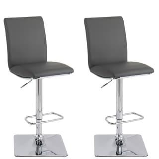 CorLiving Adjustable Barstool in Dark Grey Bonded Leather, set of 2