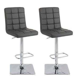 CorLiving Adjustable Barstool in Dark Grey Bonded Leather, set of 2