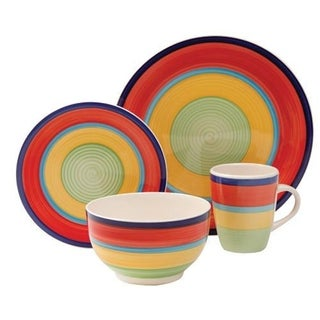 Gibson Santillana 16 Piece Dinnerware Set in Red
