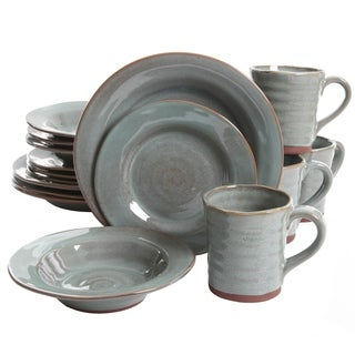 Gibson Mariani 16Pc Teal Double Reactive with Raw Edge Dinnerware Set