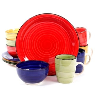 Gibson Home 12 Piece Color Vibes Handpainted Stoneware Dinnerware Set