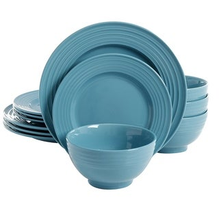 Gibson Plaza Cafe 12-Piece Dinnerware Set in Turquoise