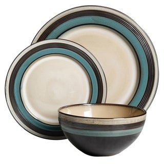 Gibson Everston 12 piece Dinnerware Set in Teal